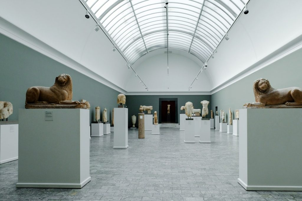 display, museum, statue